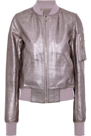 RICK OWENS Flight metallic textured-leather bomber jacket