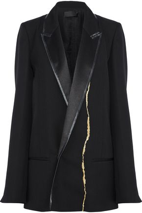 HAIDER ACKERMANN Satin-trimmed metallic embroidered wool blazer