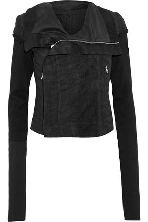 RICK OWENS Classic ribbed knit-paneled brushed-leather biker jacket