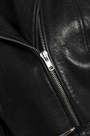 FRAME Cropped leather biker jacket