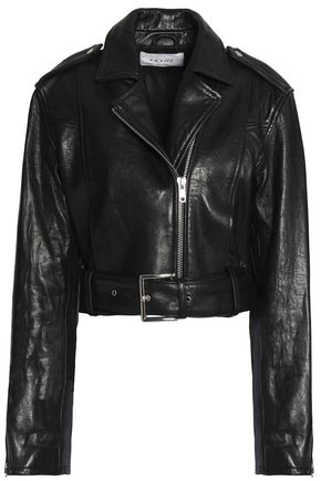 FRAME Cropped leather biker jacket