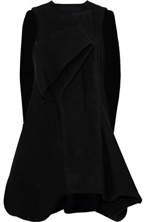 WOMAN OVERSIZED CAPE-EFFECT BRUSHED-WOOL COAT BLACK