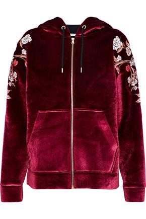 SANDRO Ginger embroidered velvet hoodie
