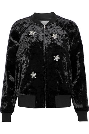 SANDRO Briny embellished crushed-velvet bomber jacket