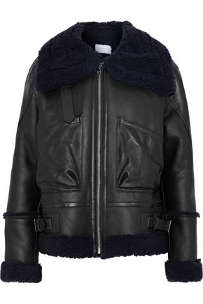 SANDRO Amber shearling-trimmed leather jacket