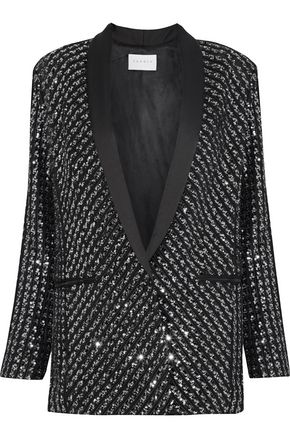 SANDRO Pakita satin-trimmed sequined tulle blazer