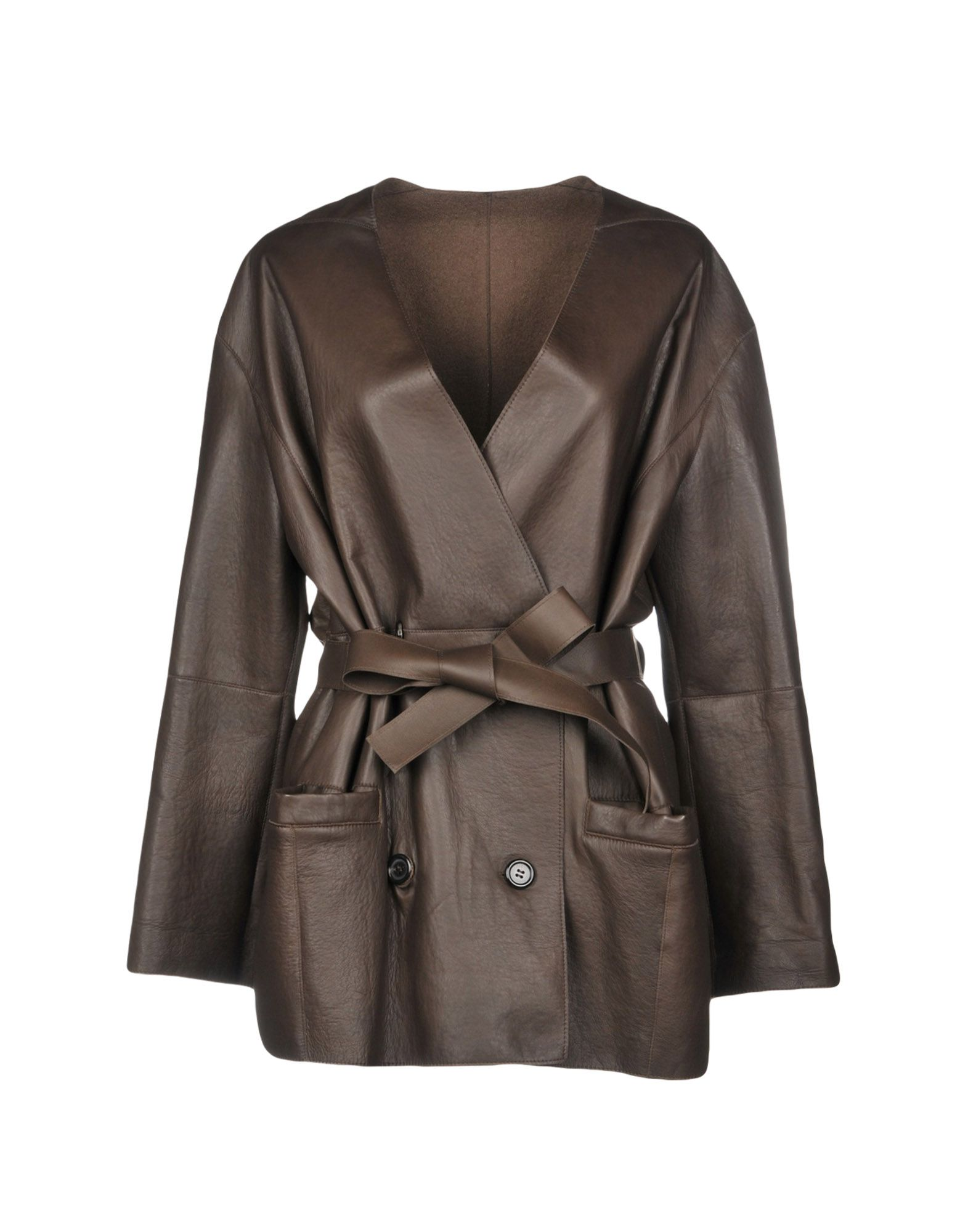 LIVEN Double Breasted Pea Coat in Dark Brown