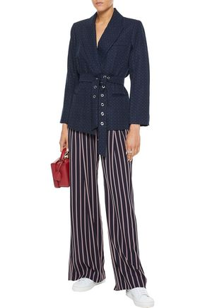 SANDRO Loulou belted embroidered twill jacket
