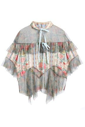 ANNA SUI Pleated floral-print satin-jacquard and tulle top
