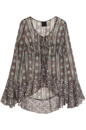 ANNA SUI Ruffle-trimmed metallic printed silk-blend chiffon blouse