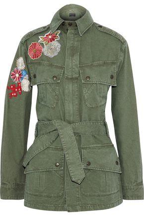 SAINT LAURENT Floral-appliquéd cotton-canvas jacket