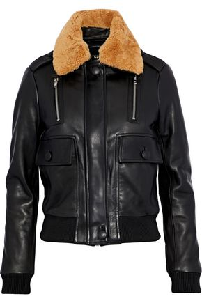 MAJE Bengal shearling-trimmed leather bomber jacket