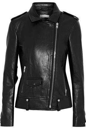 IRO Dumont ruffle-trimmed leather biker jacket