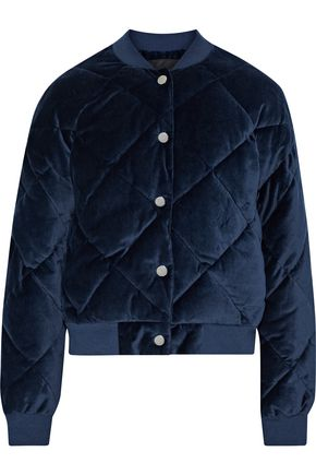 MAJE Balou quilted cotton-velvet bomber jacket