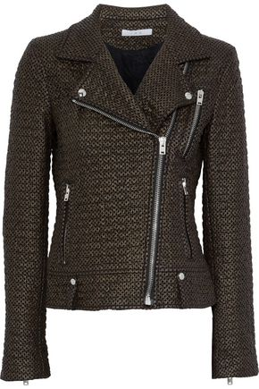 IRO Camy faux leather and felt biker jacket