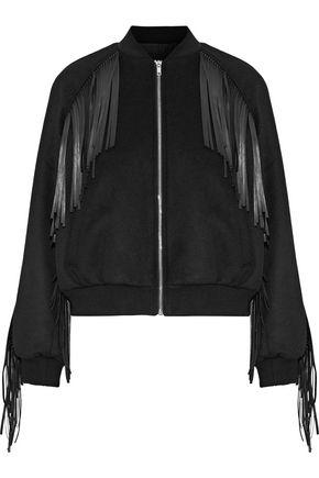 MAJE Brume fringed faux leather-trimmed wool-blend bomber jacket