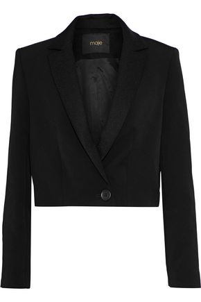MAJE Villa cropped satin-trimmed twill cady blazer