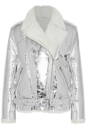 IRO Mantaa metallic cracked-leather shearling jacket