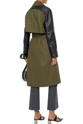 VEDA Leather-paneled cotton-twill trench coat
