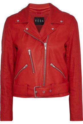 VEDA Cal linen-paneled leather biker jacket