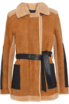 MAJE Gulen textured leather-paneled suede and shearling coat