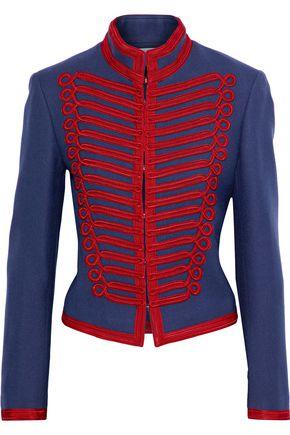 SANDRO Hoki appliquéd wool-twill jacket