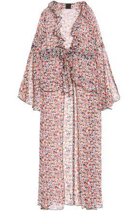 ANNA SUI Ruffle-trimmed floral-print silk-georgette top