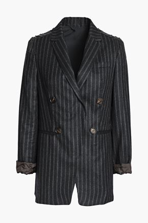 BRUNELLO CUCINELLI Bead-embellished striped wool blazer