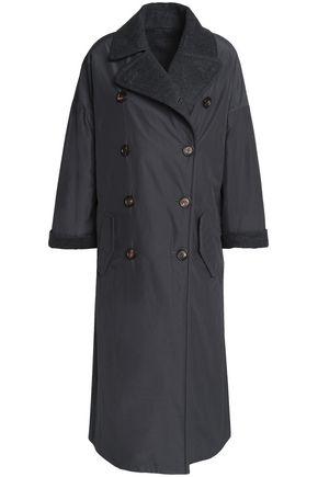 BRUNELLO CUCINELLI Double-breasted felt-paneled shell coat