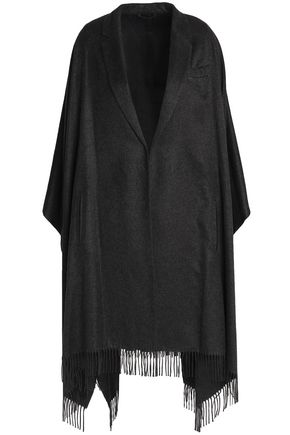 BRUNELLO CUCINELLI Bead-embellished fringed silk-felt wrap