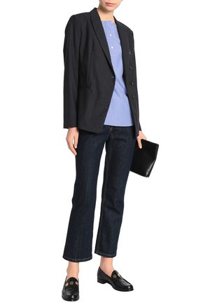 BRUNELLO CUCINELLI Double-breasted bead-embellished wool-blend blazer