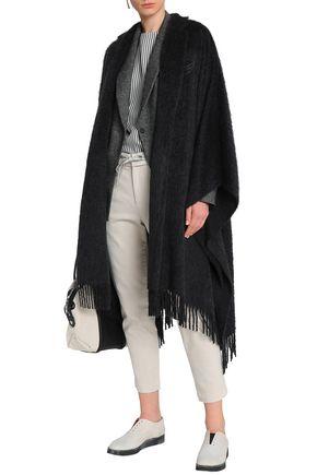 BRUNELLO CUCINELLI Fringe-trimmed embellished alpaca and wool-blend cape