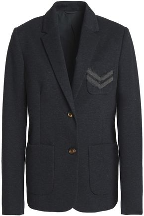 BRUNELLO CUCINELLI Bead-embellished mélange cotton-blend jersey blazer