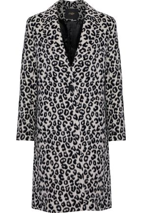 MAJE Garouny leopard-print felt coat