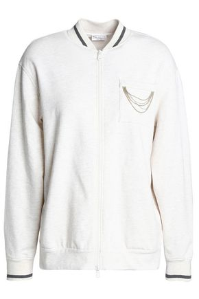 BRUNELLO CUCINELLI Bead-embellished French cotton-blend terry jacket