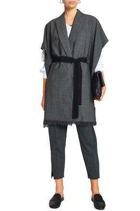 BRUNELLO CUCINELLI Draped belted wool-blend jacket