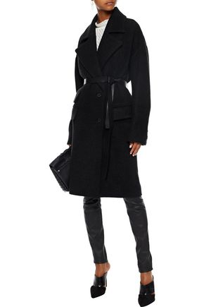 IRO Belted leather-trimmed wool-blend felt coat