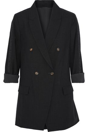 BRUNELLO CUCINELLI Double-breasted bead-embellished wool-blend jacket