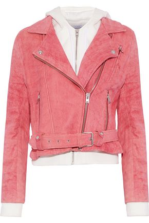 IRO Layered cotton and suede hooded biker jacket