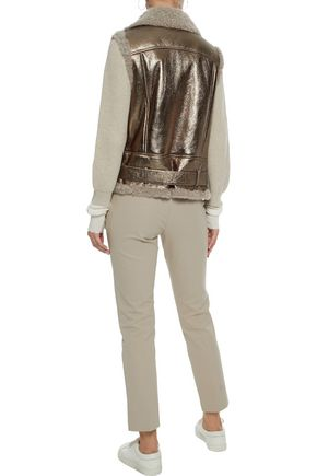 BRUNELLO CUCINELLI Shearling-trimmed metallic faux leather vest