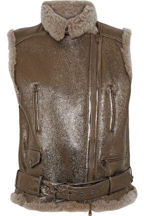 BRUNELLO CUCINELLI Shearling-trimmed metallic faux leather vest