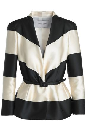 CAROLINA HERRERA Belted striped faille jacket