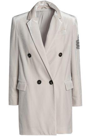 BRUNELLO CUCINELLI Double-breasted appliquéd velvet blazer