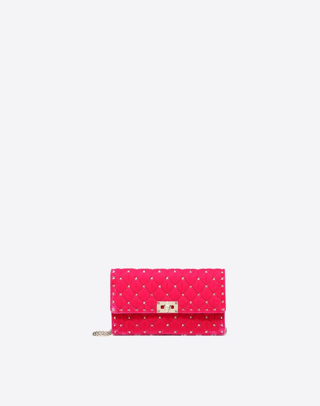 Velvet Rockstud Spike Chain Clutch