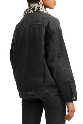 STEVE J & YONI P Leopard-print faux fur-trimmed denim jacket