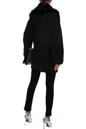 IRO Faux shearling-trimmed twill coat