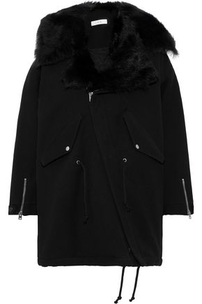 IRO Faux shearling-trimmed twill coat