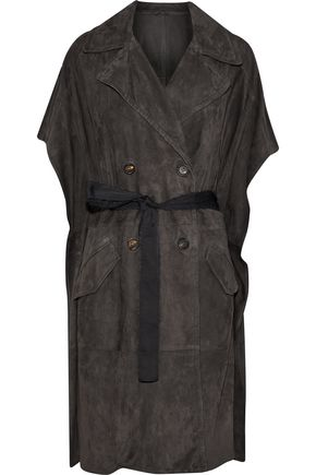BRUNELLO CUCINELLI Tie-front double-breasted suede vest
