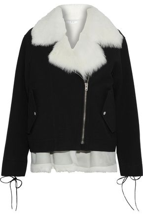 IRO Lace-up shearling-trimmed cotton-blend twill coat