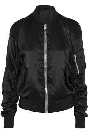 RTA Jester cold-shoulder silk-satin bomber jacket